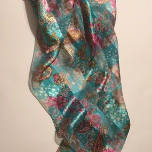 Light blue and pink flowery/ translucent scarf
